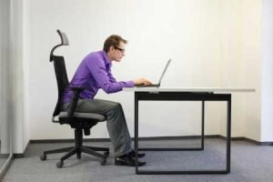 Posture of neck at desk